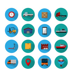 Set of delivery round icons vector