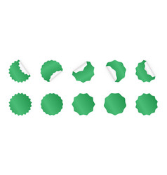 set starburst sticker blank green sunburst vector image