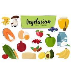 Set vegetarian food collection vector