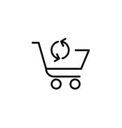shopping cart with arrow sign icon vector image