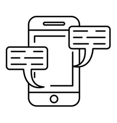 smartphone chat icon outline style vector image