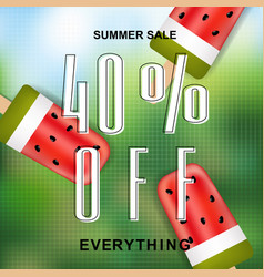 Summer sale banner with ice cream vector