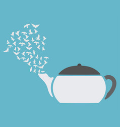 Teapot with birds flying out vector