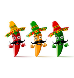 three chilli pepper characters with sombrero hat vector image