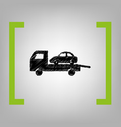 tow car evacuation sign black scribble vector image