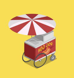 Trolley for hot dogs isometric vector
