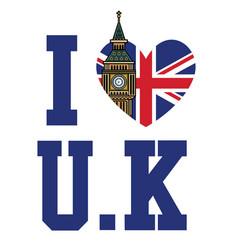 united kingdom flag with heart shape vector image