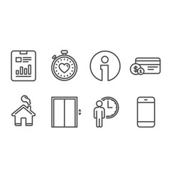 waiting report document and lift icons payment vector image
