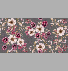 Watercolor vintage flower seamless pattern on vector