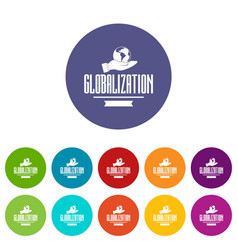 web globalization icons set color vector image