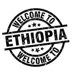 Welcome to ethiopia black stamp vector