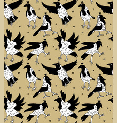 white crows in crowns color seamless pattern vector image
