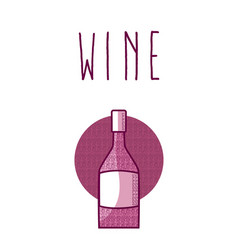 Wine bottle round icon vector
