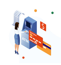 Woman inserting a credit card to atm uses vector