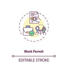 Work permit concept icon vector