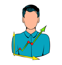 businessman and graph icon cartoon vector image