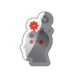 gray contour human with gear icon vector image