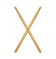 Crossed pair of wooden drumsticks vector