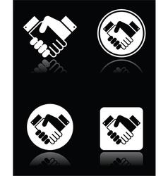 Handshake white icons set on black background vector image