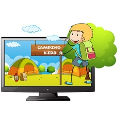 Boy going camping in the field vector image vector image