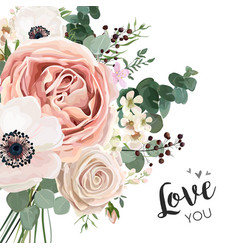 floral card elegant design with garden flower vector image