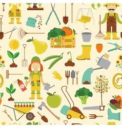 Gardening work farming seamless pattern Flat style vector image