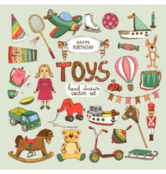 happy birthday toys set vector image vector image