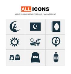 Holiday icons set with iftar ramadan azan and vector
