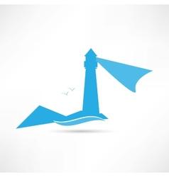 lighthouse landscape blue icon vector image