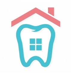 Logo combination of house and tooth vector image vector image