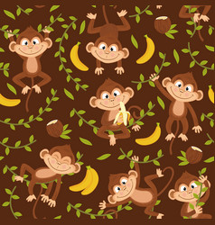seamless pattern with monkey on brown background vector image vector image