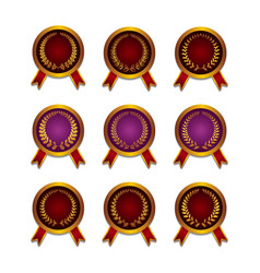 Set of different golden medals vector image vector image