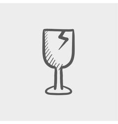 Broken glass wine fragile sketch icon vector image