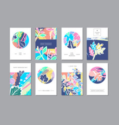 set of creative universal floral cards in trendy vector image