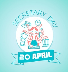 20 April secretary day vector image