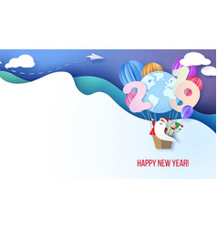 2019 happy new year design card with santa and elf vector image