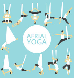 Aerial yoga set with young woman vector