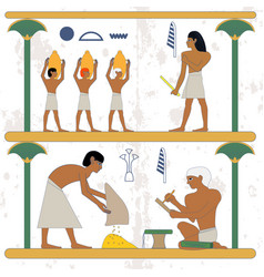 Ancient egypt background peasant with grane and vector