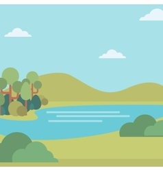 Background of landscape with hills and river vector