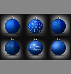 Blue christmas balls with silver holders set of vector