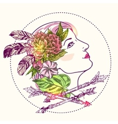 boho style girl vector image