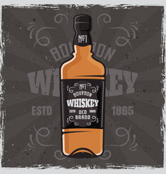 bottle whiskey colored vector image