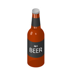 brown bottle of beer icon isometric style vector image