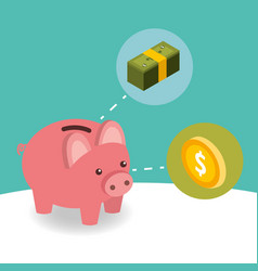 business piggy bank coin and pile banknote money vector image