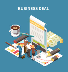 business strategy isometric composition vector image