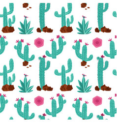 cactus hand drawn seamless pattern hand vector image