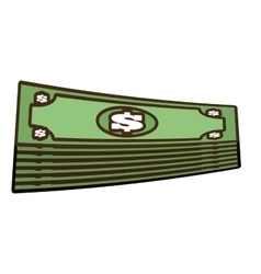 cartoon stacked bill money dollar vector image