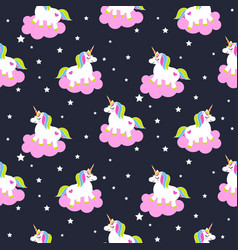 cartoon unicorns on pink clouds seamless pattern vector image