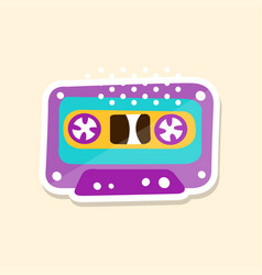cassette tape cute sticker in bright colors vector image