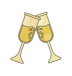 champagne glass cups vector image
